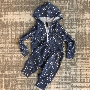 NWOT Pixie Lane set blue-gray with stars 12/18M